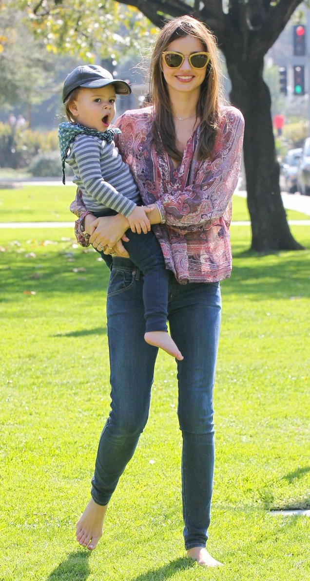 Miranda Kerr Takes Son Flynn To The Park
